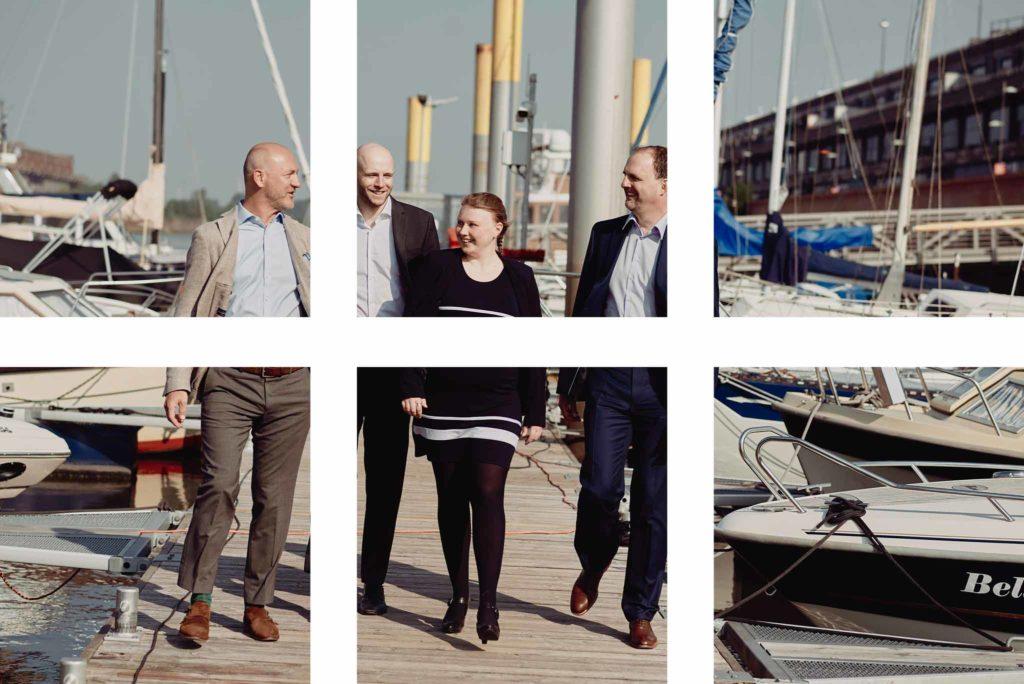 6 Kacheln die ein Foto trennen, auf welchem eine Gruppe von Menschen über einen Bootsanleger geht